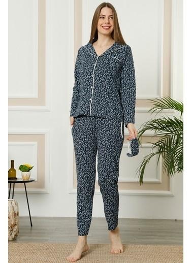 Akbeniz Kadın Lacivert Gri Pamuklu Düğmeli Cepli Uzun Kol Pijama Takım 2461 Lacivert